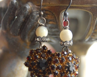 Bohemian Rhapsody-antique vinage bohemian garnet glass and mother of pearl assemblage earrings