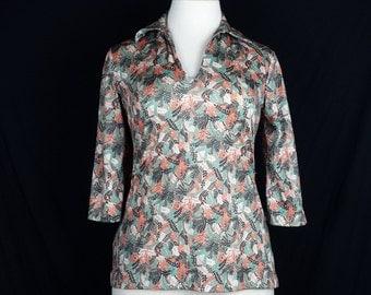Vintage Tan Orange Green Brown Autumn Leaf Print Top Misses  L Maggie Sweet 70s