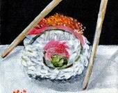 Sushi Still Life Painting- gallery wrapped canvas, sushi roll, chopsticks, still life, Original, fine art, acrylic painting