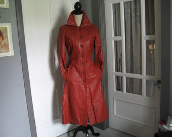 Vintage Rust Colored Three Quarter Length Leather Coat