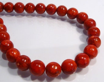 Red Sponge Coral Round Gemstone Beads...6mm.....8 Beads