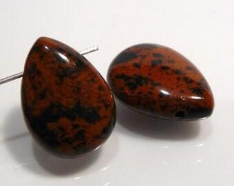 2 Beads.....Obsidian Mahogany  Puffed Smooth Briolette Gemstone Beads....18x13mm....BB