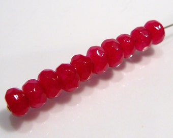 Magenta  Red Jade Faceted Rondelle Gemstone Beads...10 Beads....6mm
