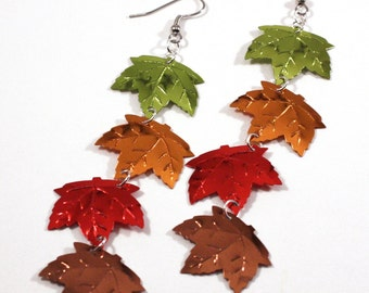 Autumn Leaf Earrings Colorful Fall Maple Leaves Dangle Plastic Sequin Jewelry