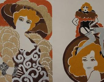 1960s Vintage Wallpaper Glam Girls Mae West Cleopatra Roaring Twenties by the Yard