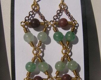Green and Purple Adventurine Bead Earrings