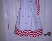 Girls Handmade Dress, Summer Sundress, Red Crab Blue White Seersucker Pillowcase stlye  Ready to ship