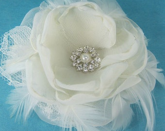Bridal Hair rose, Ivory Lace, Organza Feather Rose Hair Clip J201 - bridal wedding hair accessory