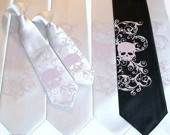RokGear Skull print Wedding neckties - 3 mens ties - 1 boys tie print to order in colors of your choice