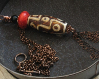 Agate Geodetic Stone Red Howlite and Copper Necklace