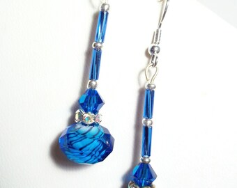 Lampwork Royal Blue Crystals Silver Jewelry Dangle Earrings