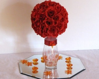 "7""D Wedding centerpiece silk Flower Kissing Ball Centerpiece topiary centerpiece kissing balls for weddings pomander balls flower decoration"