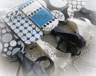 You Choose The Fabrics Luggage Tags - Mixed Set - Yellow, Gray, Black, White, Purple