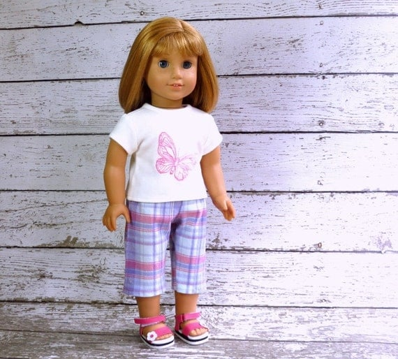 American Girl Doll Clothes Butterfly Tee Shirt and Plaid Capri Pants, top and shorts
