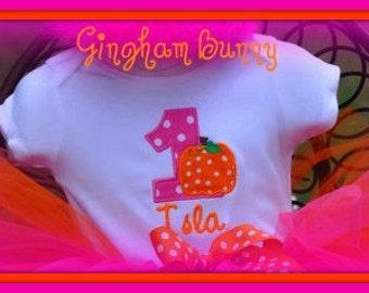 HAlloween Birthday Onesie, Thanksgiving Onesie, Pumpkin Onesie, sizes 3mo. thru 24 months, Girl or Boy by Gingham Bunny