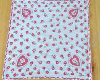 vintage HANDKERCHIEF -petite (12 inches square)-  floral embroidered, scalloped edging