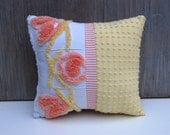Chenille Pillow - PattiPin - Yellow Coral Peach intage Chenille Handmade Pillow