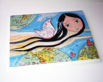 Give Love Fairy - Greeting Card 5 x 7 inches - Folk Art By FLOR LARIOS