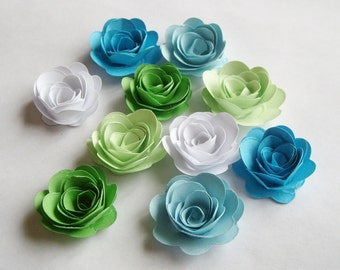 10 Minty Fresh rolled rosette flowers, wedding decoration,scrapbook decoration,table decoration, rosette,small flowers,embellishment