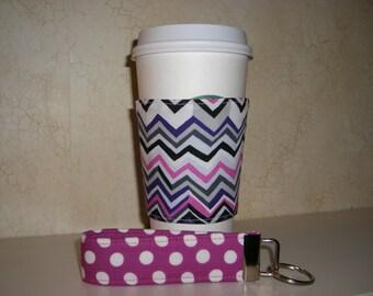 Gift Set . Fabric Coffee Cozy . Reversible . Wristlet . Chevron - Polkadots