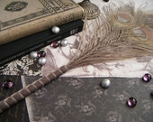 Peacock Feather Pen-Dusty Gray Velvet -READY TO SHIP