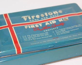 Vintage Firestone Home and Auto First Aid Kit De Luxe Quality Tin Container Antique Automotive Collectible Petroliana