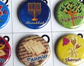 Calendar Magnets for the Jewish Holidays - Hanukkah Gift - Fridge Magnet Set (Set of 10)