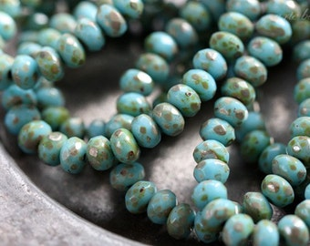 sale .. SKY BITS No. 2 .. 30 Picasso Czech Faceted Rondelle Beads 3x5mm (3726-st)