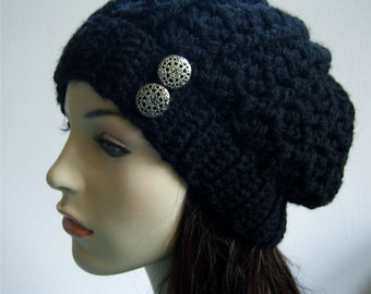 Women's Black Hat Black Slouchy Beanie Wool Hat Lacy Hat Black Hat with Silver Buttons Warm Hat Winter Hat - MADE TO ORDER