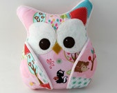 Plush Owl Pillow - patched owl- minky - pink