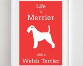 Welsh Terrier Print - Dog Picture - Dog Print - Dog Art - Pet Lover - Dog Silhouette