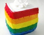 Wool Felt Rainbow Cake Slice Toy