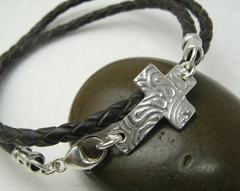 CROSS WRAP BRACELET with handmade sideways horizon cross charm sterling silver leather bracelet