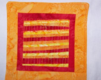 Bright and Scrappy Batik Quilted Coaster, Mug Rug or Mini Quilt