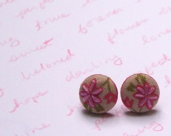 fabric and embroiderd flower post earrings