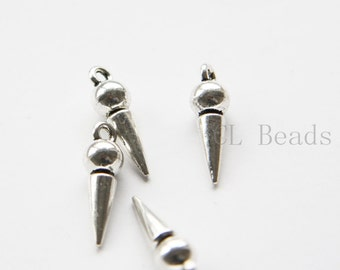 12pcs Oxidized Silver Tone Base Metal Charms - Conical or Spikes 22x6mm (16817Y-R-246)