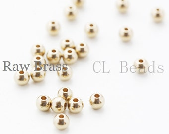 100pcs RAW Brass Ball Spacer - 4mm (1732C-T-45)