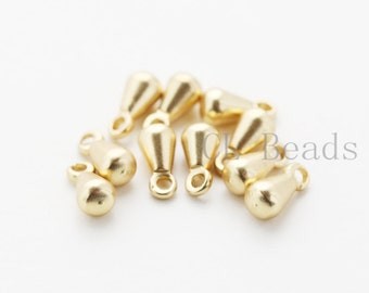 10pcs Matte 16K Gold Plated Charms - Teardrop 6x3mm (505C-T-71)