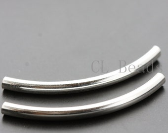 2pcs Sterling Silver Curved Tube - Spacer 3x40mm (560)