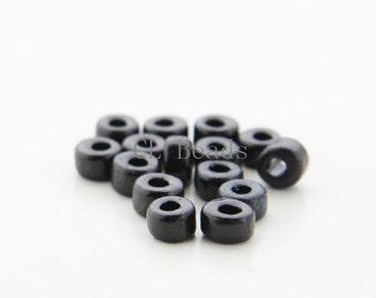 100pcs Greece Ceramic Cylinder Beads - Black 6x4mm (7)