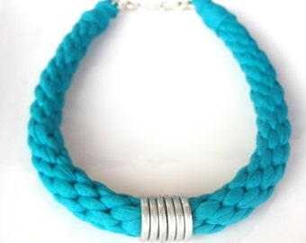 Turquoise Cotton Statement Necklace, Turquoise Kumihimo, Plated Ring Neckace, Green Knitted Necklace, Woman Christmas Gift, Woven Necklace.