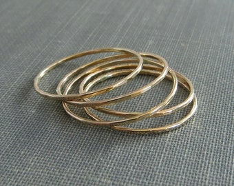 Thin Gold Stackable Rings - Set of 5+ Rings - Super Slim 1mm - 14K Yellow Gold Filled - Simple Modern Minimal Rings