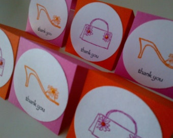 6 Mini Fashion Thank You Cards - Shoe Cards - Home and Living - Paper Goods - Stationery - Greeting Cards - Mini Cards - Lunchbox notes