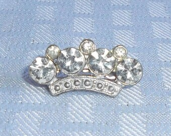 Clearance 1930's Vintage Crown Rhinestone Brooch or Pin