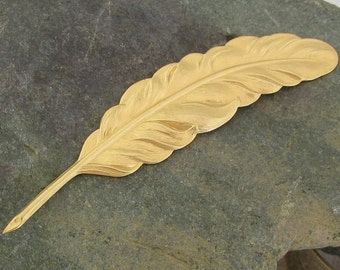 Brass Feather Metal Stamping for Bracletes or Pendants 1470 - 6 Pieces