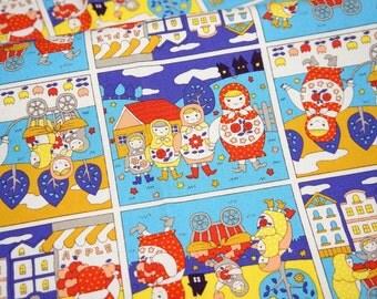 Japanese fabric with Matryoshka Russian nesting dolls print Half meter