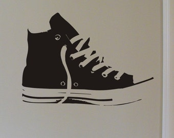 Hi Top Sneaker Matte Black Vinyl Wall Design
