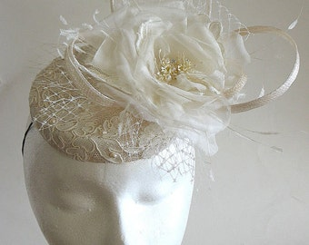 ivory sinamay bridal hat - ivory retro pillbox - silk rose wedding hat