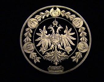 AUSTRIA - cut coin jewelry - w Double Headed Eagle - 1900 - SILVER