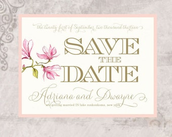 Blush Pink Wedding Save the Date Card, Floral Save the Date, Pink Save the Date, Custom Invitations - Adriana and Dwayne